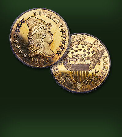 1804 Plain 4 Eagle, BD-2, PR65+ Deep Cameo  Extremely Rare Early Gold Proof Finest of Three Known Ex: Sultan of Muscat-'Colonel' Green