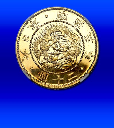 Japan: Meiji gold Proof 20 Yen Year 3 (1870) PR66 Cameo NGC, KM-Y13, JNDA 01-1