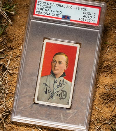 1956 1909-11 T206 Sweet Caporal Ty Cobb Signed Portrait Red Background Good 2 Auto 7.