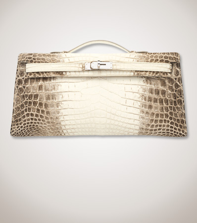 Hermes 31cm Himalayan Niloticus Crocodile Kelly Longue Clutch with Palladium Hardware
