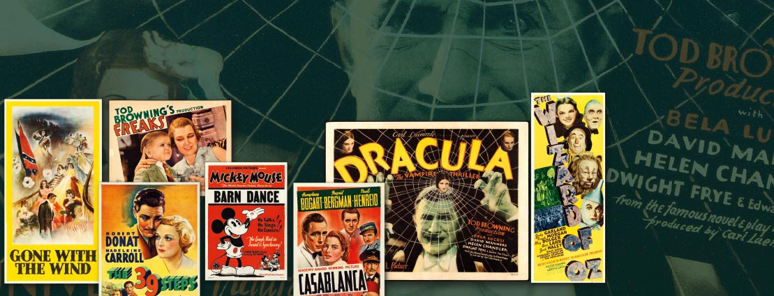 Gone with the Wind, Dracula, the 39 Steps, Freaks, Mickey Mouse in The Barn Dance