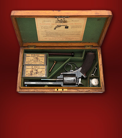 Exceptional Cased and Engraved Adams's Patent Double Action Central-Fire Breech-Loading Revolver