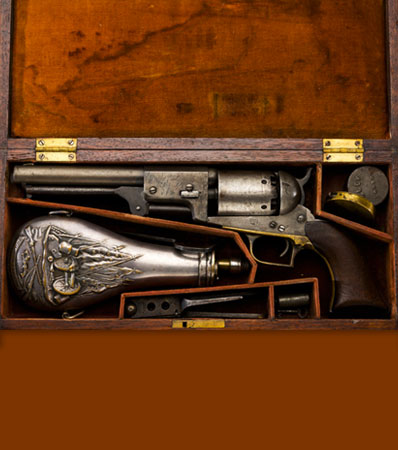 Historic Cased and Inscribed Colt Whitneyville-Hartford Transition Walker Dragoon Revolver, Presented to Colonel John Coffee 'Jack' Hays