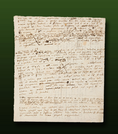 Sir Isaac Newton. Autograph Manuscript, Notes on Physics and Solid Geometry, with Two Diagrams