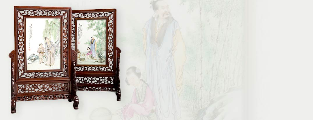 A Pair of Wang Dafan Porcelain and Hardwood Table Screens, Republic Period, circa 1912-1949 Marks: Two red artist's seals