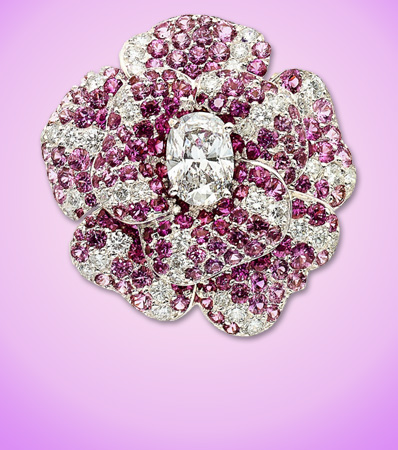 Chanel Diamond & Pink Sapphire 18K White Gold Camelia Ring