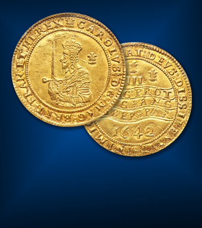 Mint State Triple Unite, Great Britain: Charles I (1625-1649) gold Triple Unite 1642 MS61 NGC