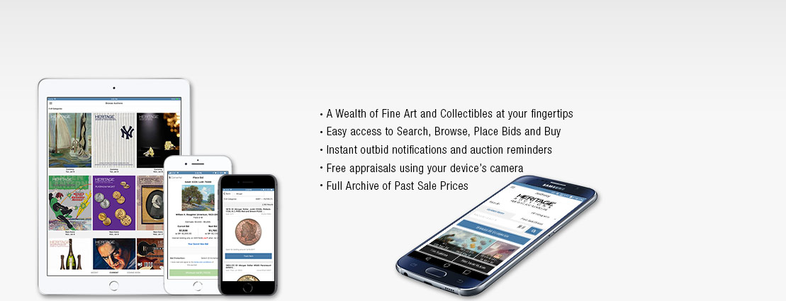 Heritage Auctions Mobile App on iOS and android Devices