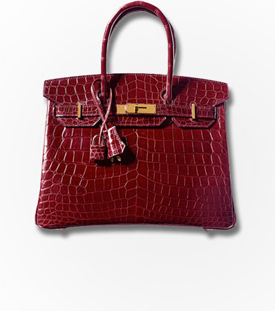 Hermes 30cm Shiny Bourgogne Nilo Crocodile Birkin Bag with Gold Hardware