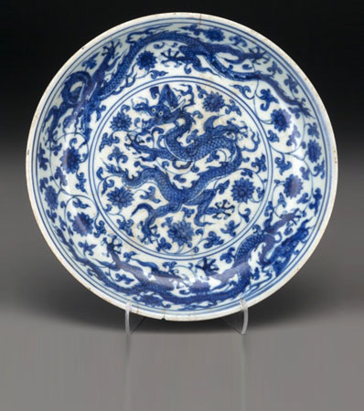 A Rare and Important Chinese Blue and White Dragon Dish