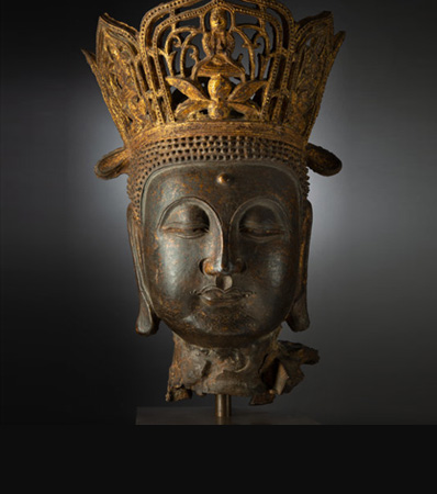 A Large Chinese Cast-Iron Head of Buddha Vairocana, Yuan Dynasty-Ming Dynasty