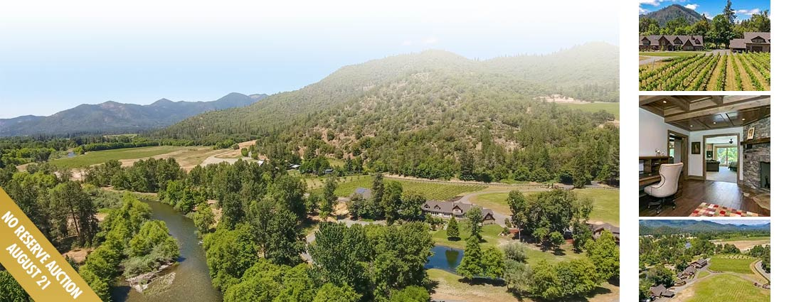 No Reserve! Applegate Valley riverfront home on more than 27 acres.