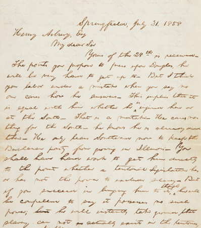Abraham Lincoln: A Highly Important, Seminal 1858 Political Letter, Ex: Malcolm Forbes, Jr. Collection