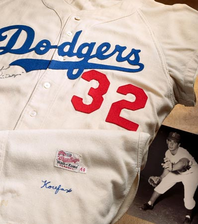 1956 Sandy Koufax Game Worn & Signed Brooklyn Dodgers Jersey, MEARS A9.