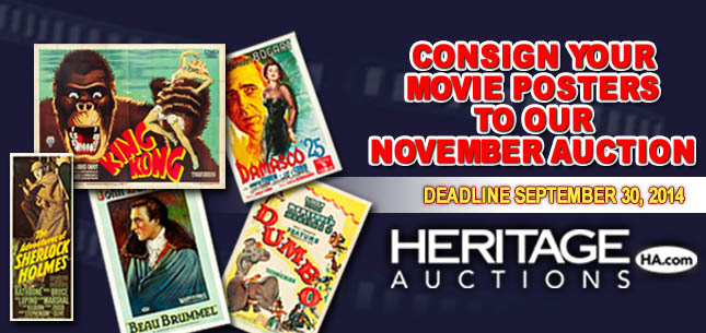 Consign Your Movie Posters To Our November Auction - Deadline September 30