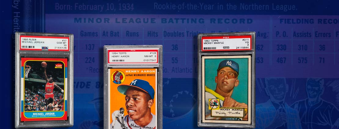 1954 Topps Hank Aaron #128 PSA NM-MT 8. I 1952 Topps Mickey Mantle #311 PSA VG 3.  |