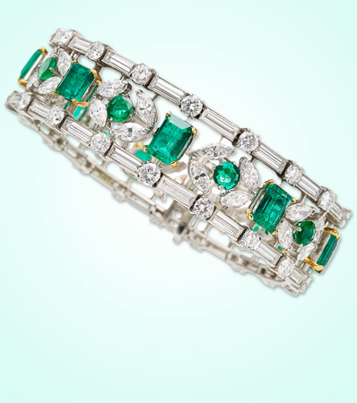 Emerald, Diamond, Platinum Bracelet, Van Cleef & Arpels