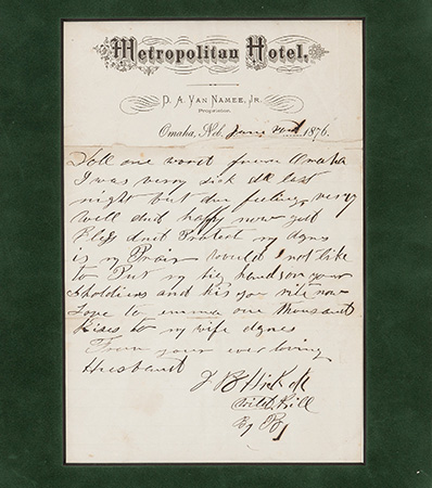 James Butler 'Wild Bill' Hickok: Perhaps the Most Important Known Autograph Letter Signed from this Old West Legend