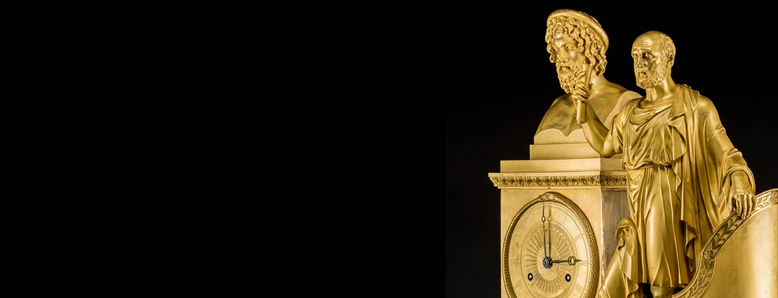 A Fine French Empire Gilt Bronze Classical Mantel Clock Depicting Plato and Euripides, probably Paris, circa 1820