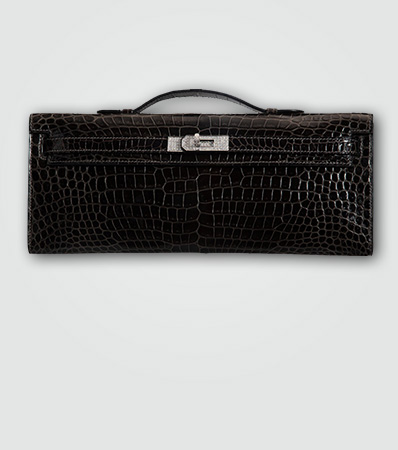 Hermès Extraordinary Collection Shiny Graphite Porosus Crocodile & Diamond Kelly Cut Clutch with 18K White Gold Hardware