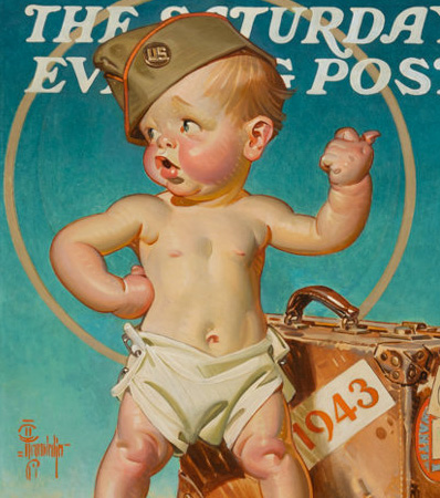 Joseph Christian Leyendecker, New Year Baby Hitching to War, The Saturday Evening Post