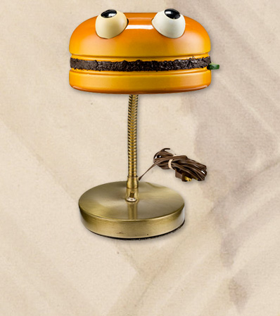 Hamburger Patch Desk Lamp Prototype and Original Art