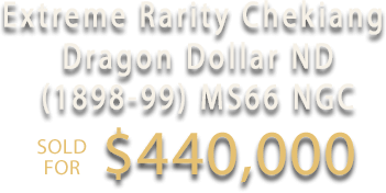 Extreme Rarity Chekiang Dragon Dollar ND (1898-99) in MS66 Sold for $439,999.92