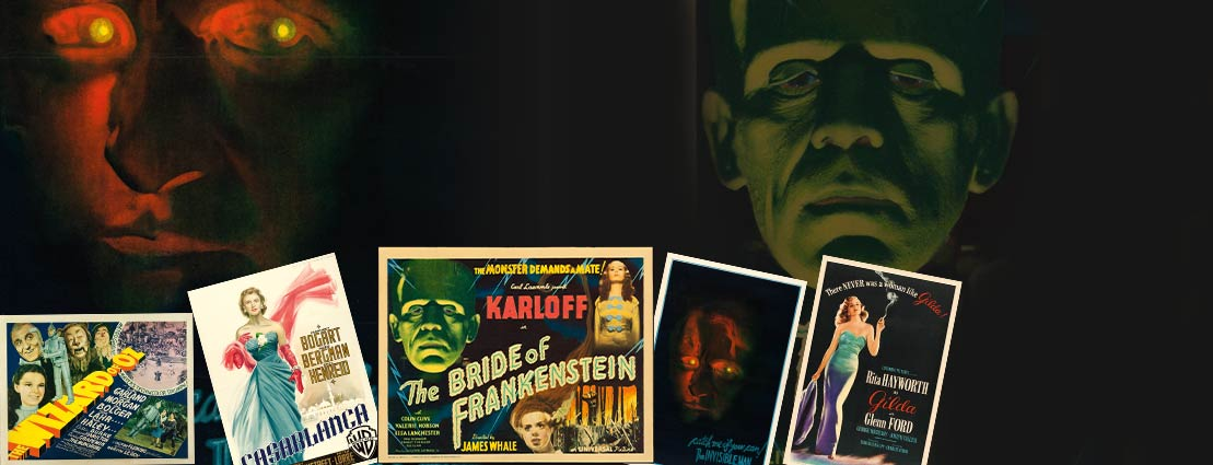 The Wizard of Oz, The Invisible Man, Casablanca, The Bride of Frankenstein and Gilda Movie Posters