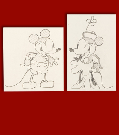 Steamboat Willie Mickey and Minnie Mouse Animation Drawings by Ub Iwerks Group of 2 (Walt Disney, 1928).