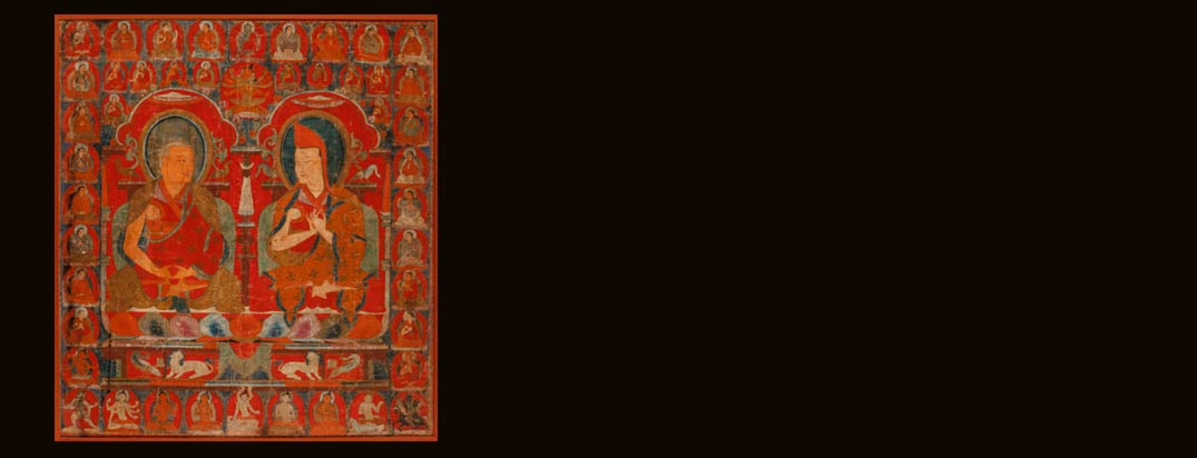 A Rare and Important Tibetan Thangka Depicting Two Sakya Lineage Holders