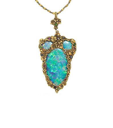 Arts & Crafts Boulder Opal, Multi-Stone, Diamond, Gold Pendant-Necklace