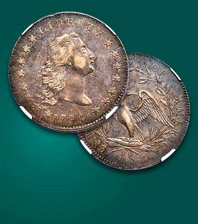 1794 Flowing Hair Dollar, AU58 | Classic American Rarity | B-1, BB-1, Ex: Queller