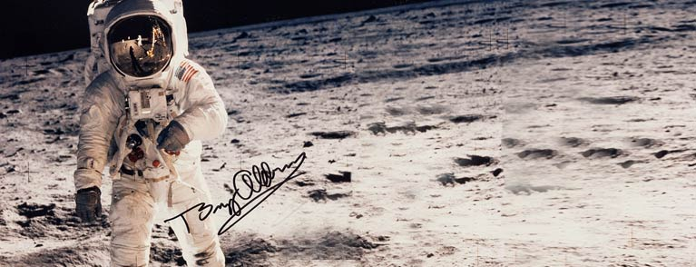 Buzz Aldrin Signed Large Apollo 11 Lunar Surface