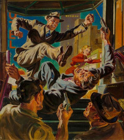 Norman Saunders (American, 1907-1989) Up Pops the Corpse, 10 Story Detective cover