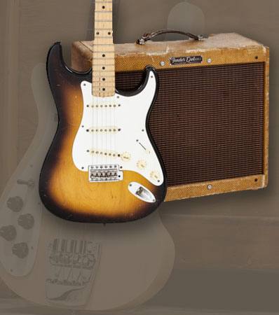 1958 Fender Stratocaster Sunburst Solid Body Electric Guitar, Serial # 025705 and 1958 Fender Deluxe Tweed Amplifier