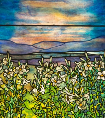 Tiffany Studios Leaded Glass Lily Window, circa 1900.