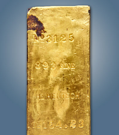 Henry Hentsch Very Large Size Gold Ingot, 154.23 Ounces, Ex: S.S. Central America