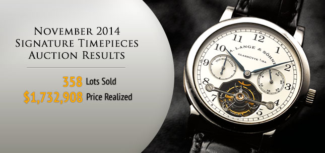 Results for 2014 November 20 Watches & Fine Timepieces Signature Auction - New York #5202