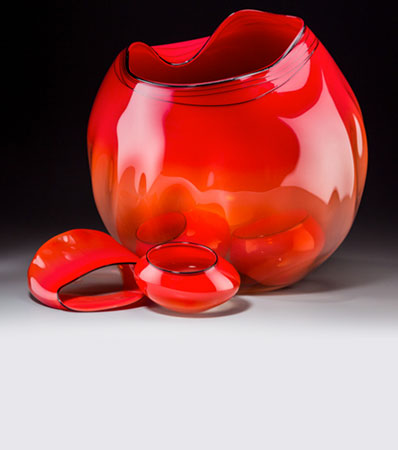 A Large Five-Piece Dale Chihuly Studio Glass Basket Group, circa 1993