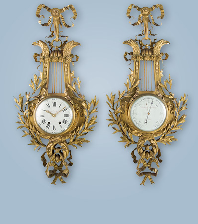 A French Louis XVI-Style Gilt Bronze Wall Clock and Barometer, circa 1890