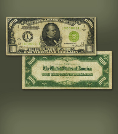 Serial Number 1 San Francisco District $1,000 | Fr. 2211-L $1,000 1934 Light Green Seal Federal Reserve Note
