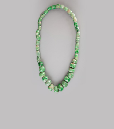 An Olmec/Maya Jade Bead Necklace