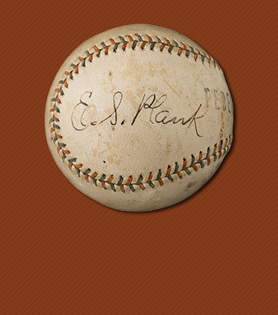 1915 Eddie Plank Single Signed Federal League Baseball--Finest Known!
