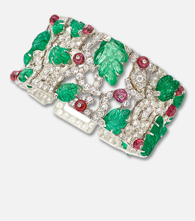 Art Deco Diamond, Ruby, Emerald, Platinum Bracelet