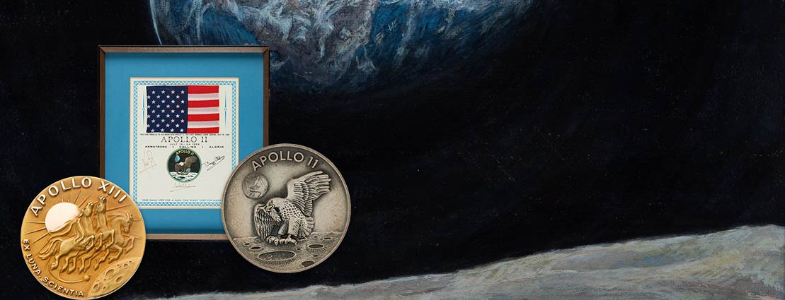 Apollo 8 Flown Silver Robbins Medallion, Serial Number 183 | Apollo 8 Flown American Flag Directly from the Personal Collection of Mission Command Module Pilot James Lovell, Signed and Certified, with Signed LOA.