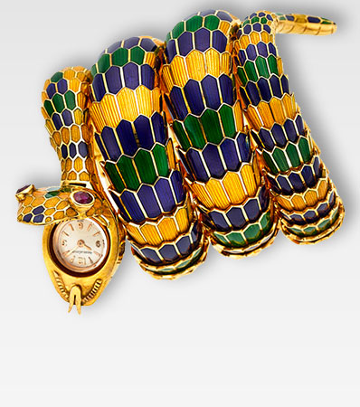 Bvlgari & Jaeger LeCoultre, Exceedingly Rare and Fine Serpenti Scalia, 18k Gold, Enamel with Ruby Eyes, Circa 1960's