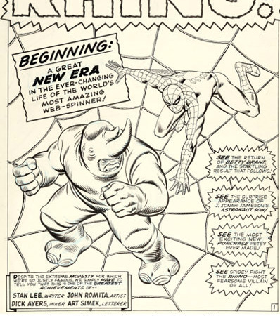 John Romita Sr. and Mike Esposito Amazing Spider-Man #41 Splash Page 1 Original Art