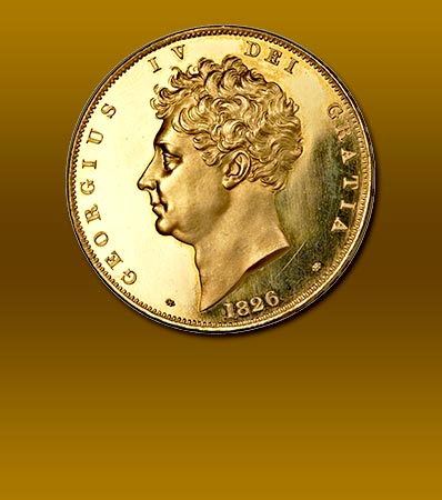 Great Britain: George IV gold Proof 5 Pounds 1826 PR64 Ultra Cameo NGC