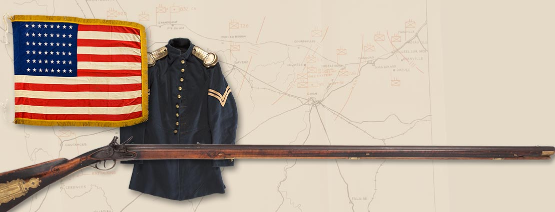 D-Day: First American Flag | Union Corporal's Forage Cap & Frock Coat Set Id'D to Corp. George Schmultz | Important Relief Carved Pre-Revolutionary War Flintlock Kentucky Rifle by John Philip Beck