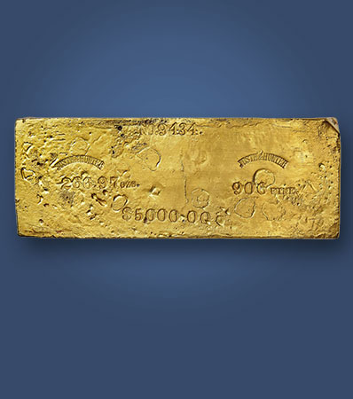 Justh & Hunter Gold Ingot, 266.97 Ounces, Third Largest Marysville Office Ingot Recovered